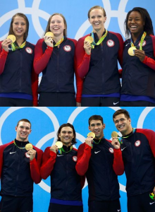 Rio Olympics 2016: Top: Baker, King, Vollmer, and Manuel Win Gold in Women's 4 x 100m Medley Relay. Bottom: Murphy, Miller, Phelps, and Adrian Win Gold in Men's 4x100 Medley Relay.